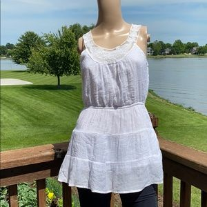 Forever 21 White Lace Trim Sleeveless Blouse